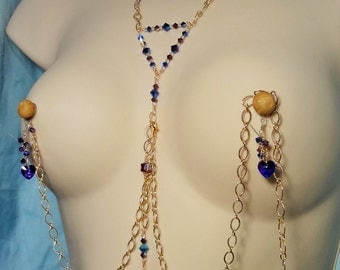 Reserved Non Pierced Body Jewelry Set Purples Crystal