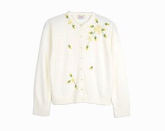 Vintage 60s Floral Applique Cardigan / White Tea Rose Sweater