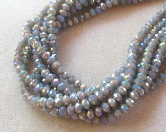 Field Gray AB Faceted Rondelle beads, Glass Beads, Jewelry Making Beads, Bead Supply, Craft Supply, Jewelry Supply, Full Strand, Crystal (1)