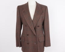 Brown Houndstooth Wool Blazer 90's Vintage Preppy Tailored Women's Plaid Double Breasted Suit Jacket Freedberg Small 8