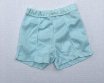 kids 70s vintage shorts  polyester knit pale blue green toddler kids shorts 4 to 6x boys girls