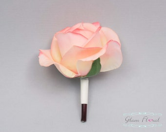 Coral  Rose Boutonniere . Real Touch Flowers. Caroline Rose Collection