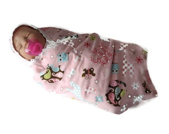 Paisley Jungle Animals Pink White Girly Flowers Print Soft Flannel Receiving or Nursing Blanket for Infant Baby with White Crocheted Edge