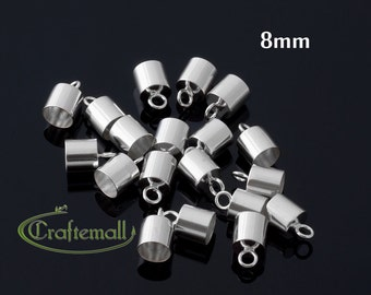 Sterling silver cord ends - glue in cord end for 8mm cord or wire (one pair or ten pairs)