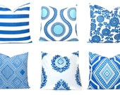 Royal Blue Pillow Cover.Throw Pillows.ONE royal blue pillow.Stripe.Floral.Tribal.Damask.Decorator Pillow.18x18 inch.ALL SIZES Euro sham