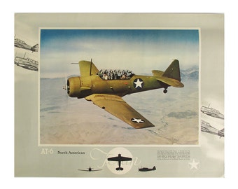 """Vintage AT-6 Texan Training Plane Lithograph Print """"Ready for Framing"""""""