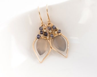 Grey Moonstone Quartz and Iolite Leaf Hoops