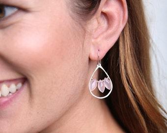 Pink Chalcedony Quartz Chandelier Earrings