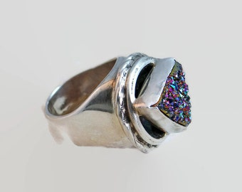 Titanium Drusy Artisan Ring in Sterling silver, Large Druzy Size 8
