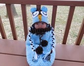 Cocoon/Sleepsack and Owl Beanie Hat Set in Light Blue and Brown