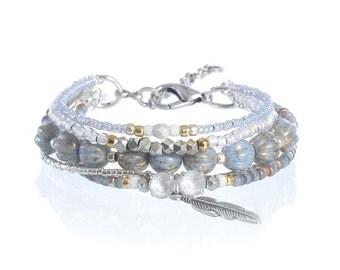 Silver feather charm bracelet - bohemian bracelet - feather jewelry - pale blue bracelet - beaded bohemian jewelry - hippie jewelry