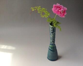 Green bud vase with Australian Flannel flower design