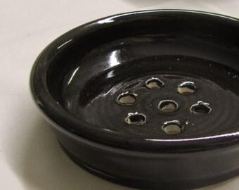 Soap Dish Black Pottery Stoneware Handmade Ceramic Pottery