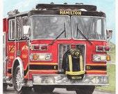 Hamilton Fire Dept; Patrick Wolterman, Watercolor Painting Print, Cincinnati, Ohio