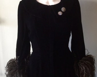 Stunning Vintage 1950's Black Velvet Feather Dress