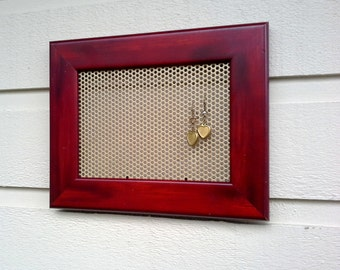 Earring Holder, Burgundy wood frame with a metal magnetic insert for jewelry or photos, cottage and country chic decor