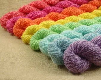 Mini Skeins Pastel Rainbow - Set of 8 - Hand Dyed Fingering Sock Weight Yarn - 100% Non-Superwash Fine Organic Merino Wool