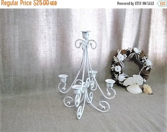 Happy 4th with 40% Off Pretty Painted Metal Candelabra / White 5-Arm Candelabra for Wedding or Home Decor