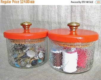 Happy 4th with 40% Off Retro Canister Jars / Upcycled Storage Jars in Bright Fire Orange / Eco-Friendly Storage and Organization Solutions f