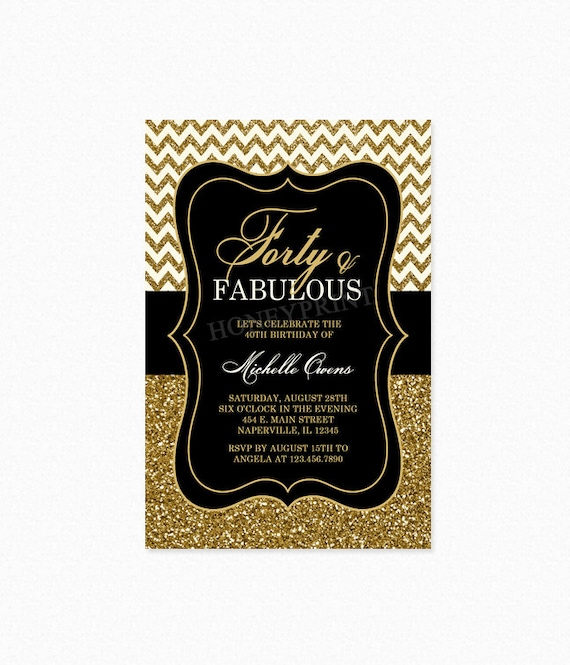 Forty and Fabulous Birthday Party Invitation, 40th Birthday Invitation, Gold Glitter Dots, Milestone Birthday, Printable or Printed