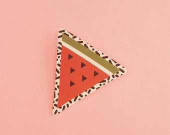 SALE Watermelon Brooch // Geometric Brooch // Tropical Brooch // Graphic Brooch // Shrink Plastic // Memphis Inspired Large