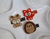 Woodland Animals Felt Hair Clips- Fox, Hedgehog, and Deer- Cute Fall or Autumn Barrettes for Toddlers, Preschoolers, Tweens