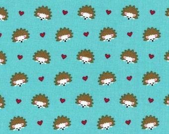 Michael Miller Hedgehog Heaven Turquoise fabric - 1 yard