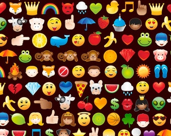 Timeless Treasures Emoticon Black Emoji Fabric - 1 yard -