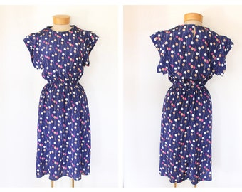 Vintage Navy Blue Polka-Dot Dress with Pink, Tan, and White Dots Size Small