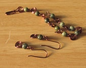 Copper Wire Set Bracelet and Earrings, Natural Stone, Russian Serpentine, From my Casual Elegance Collection