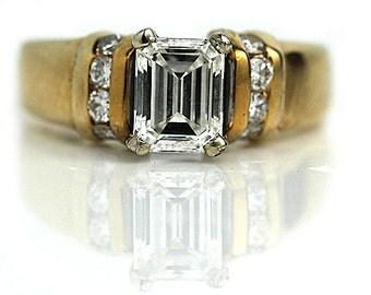Vintage Emerald Cut Diamond Ring GIA 1.13ctw Emerald Cut Engagement Ring 14Kt Yellow Gold Engagement Ring Size 5.25!