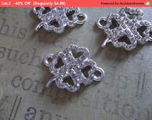 40% Off SALE Jewelry Connectors - Silver 4 Leaf Clover with Clear Rhinestones - 21mm x 16mm - 3 pieces