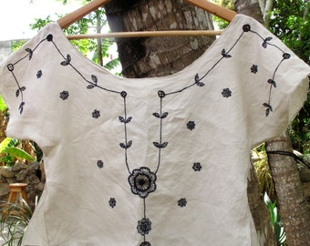 Linen hand embroidered loose top
