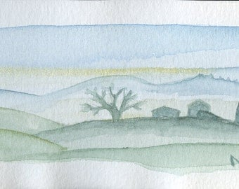 Blue Small watercolor Tuscany hills Landscape Watercolor miniature Wall Decor Art Painting Watercolor Tuscan Hills