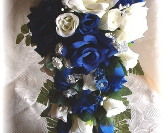 21pc Wedding Bouquet Set Horizon ROYAL BLUE Cream Ivory Silver Silk Flowers Bridal Cascade Roses