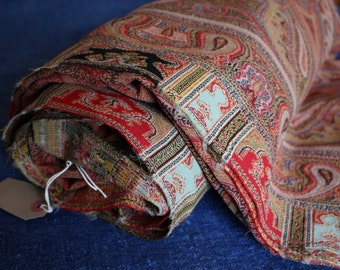Antique Paisley Shawl. Large Sofa Throw.  Warm Red. Wool.