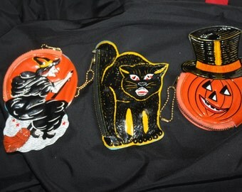 Vintage 1950's Halloween Coin Purses: Old Store Stock; Jack-O-Lantern Pumpkin, Black Cat, Witch; NOS from Barton's Chocolates of NYC