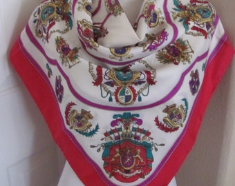 """Amazing Designer // White Red Floral Soft Silk  Scarf // 34"""" Inch Square // Best of the Best"""