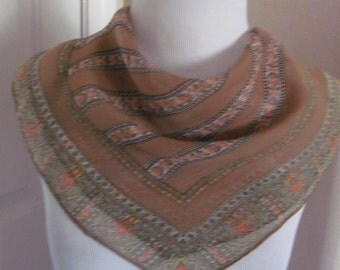 "Lovely Brown Sheer Silk Scarf // 20"" Inch 50cm Square"