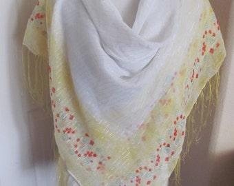 "Beautiful Large White Yellow Fringe Shawl Wrap or Scarf // 40"" Inch 102cm Square"