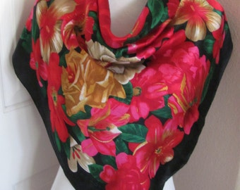"ECHO // Lovely Red Black Floral Soft Silk Scarf  // 31"" Inch 79cm Square"