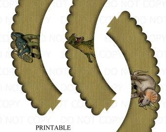 Printable Dinosaur Cupcake Wrappers