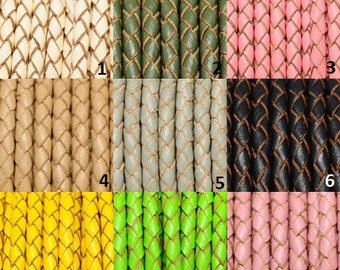 Braided Bolo Leather Cord 6mm 15meters Custom Colors