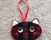 Ornament Christmas Tree decorations Wool felt ornament Black Red Plaid Grumpy Cat Head