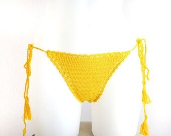 Triangle bikini bottom, brazilian bottom, Bikini bottom with side tide, Hipster  bikini, Yellow crochet bottom, Beach wear, Bikini bottom