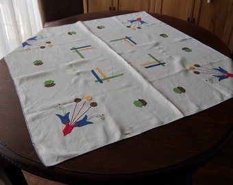 Vintage Tablecloth and Napkins Sky Blue with Handpainted Seagulls