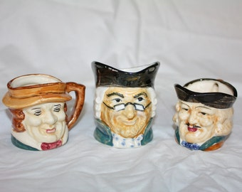 Vintage Toby Lot of 3 - Creamers and Mug