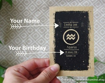 Personalized Zodiac Notebook with Your Name and Birth Date - Horoscope Pocket Journal Gift