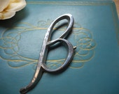 Vintage Chrome Letter B. Silver Chrome plated Metal monogram initial