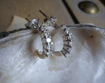 Vintage Sterling Silver & CZ half curl semi hoop earrings